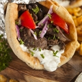 Gyro Beef Brisket Sandwich with Lemon-Feta Tzatziki