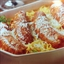 Baked Angel Hair Pasta with Sausage and Smooth Tomato and Artichoke Sauce