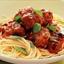 Cheesy meatballs with spaghetti