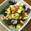 Kale salad with Parmesan, avocado, cannellini beans and pine nuts
